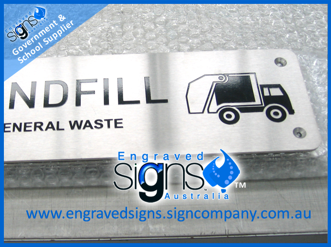 Landfill sign with countersunk screw holes