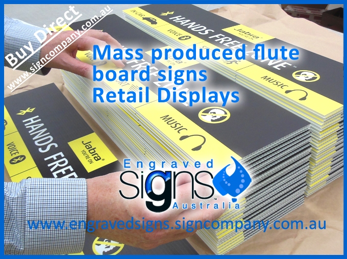 Mass produced flute board signs and retail display makers signage
