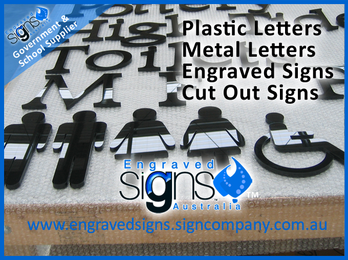Plastic letters, symbols and components of a 3d outside building sign for schools